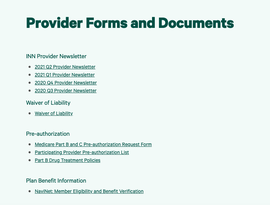Provider Forms and Documents