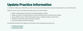 Update practice information