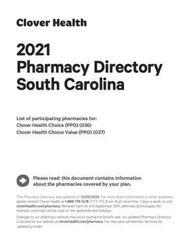 2021 Pharmacy Directory South Carolina