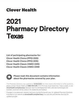 2021 Pharmacy Directory Texas