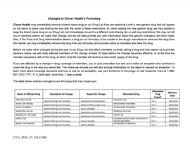 Upcoming Formulary Changes