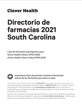 Directorio de farmacias 2021 South Carolina