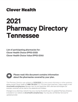 2021 Pharmacy Directory Tennessee