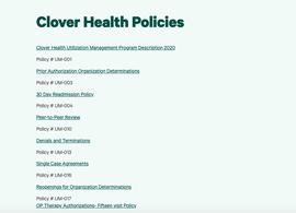 Clover Health Policies