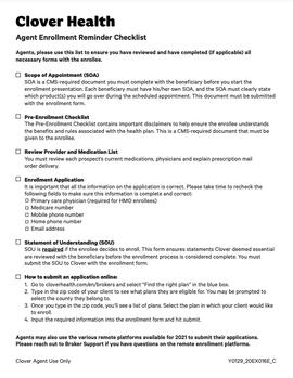 Agent Enrollment Reminder Checklist