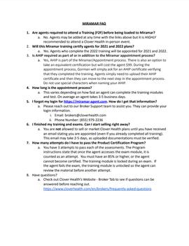 Miramar FAQ