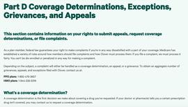 Part D Coverage Determinations, Exceptions, Grievances, and Appeals