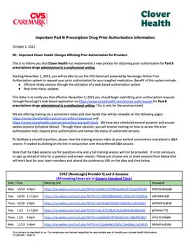 Important Part B Prescription Drug Prior Authorization Information