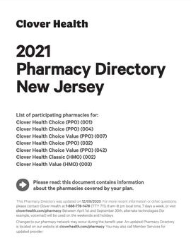 2021 Pharmacy Directory New Jersey