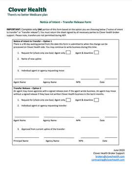 Agent Release Form